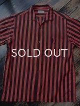 50s〜BVD 赤黒ストライプ柄 半袖シャツ