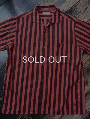 画像1: 50s〜BVD 赤黒ストライプ柄 半袖シャツ